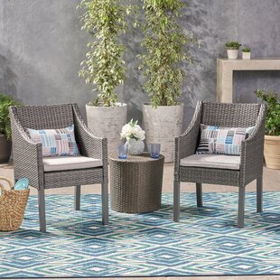 House of Hampton Leber Outdoor 3 Piece Rattan 2 Person Seating Group with Cushions