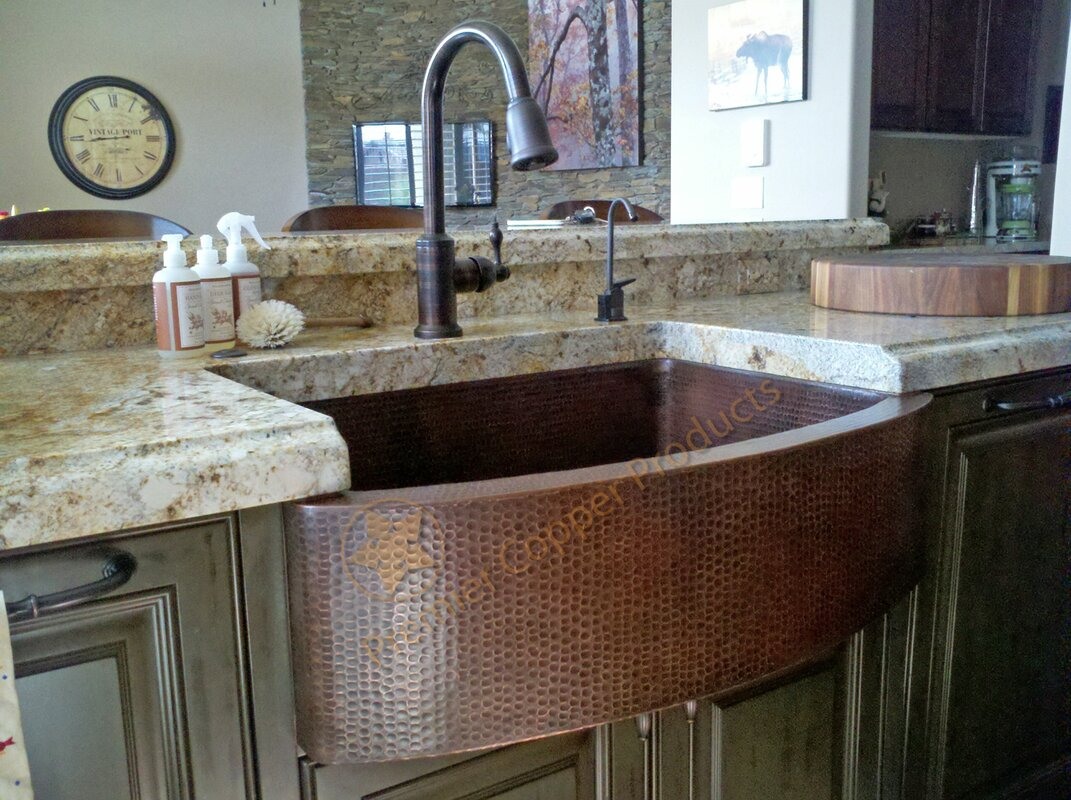 Premier copper products 33 x 24 hammered apron kitchen sink with 33 x 24 hammered apron kitchen sink with faucet workwithnaturefo
