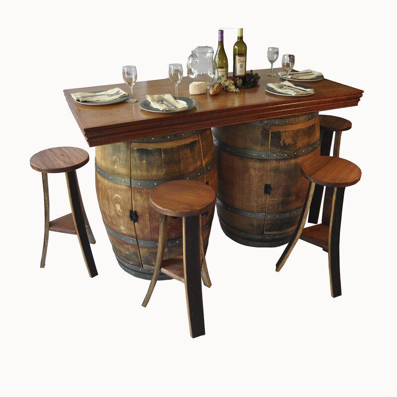 Wine Barrel Bar Set With Wine Storage