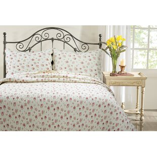 Pink Rose Garden 3 Piece Quilt Set