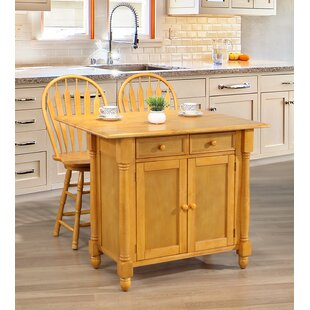 Cheyanna Drop Leaf Kitchen Island Set Rosalind Wheeler