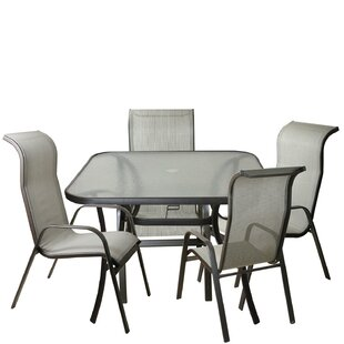 Arzola 5 Piece Mesh Outdoor Patio Dining Set
