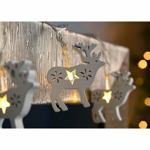 Wood Reindeer LED 10 Light String Lighting