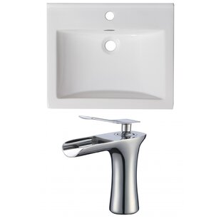 Affordable Price 1 Hole Ceramic Rectangular Drop-In Bathroom Sink with Faucet and Overflow By American Imaginations