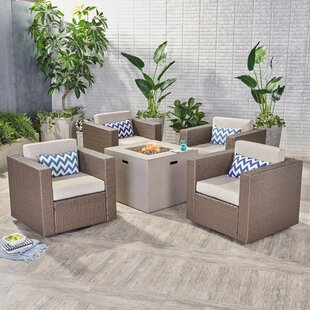 Orellana Outdoor 5 Piece Rattan Sofa Seating Group with Cushions