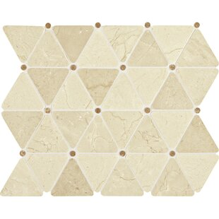 Review Polished Triangle 2 x 2 Marble Mosaic Tile in Crema Marfil by Itona Tile