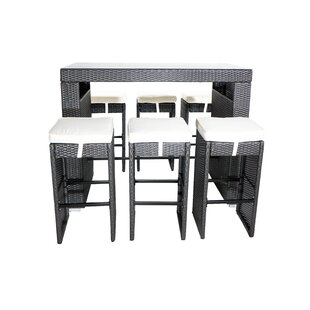 Hargrove 7 Piece Bar-Height Dining Set with Cushions by Wrought Studio