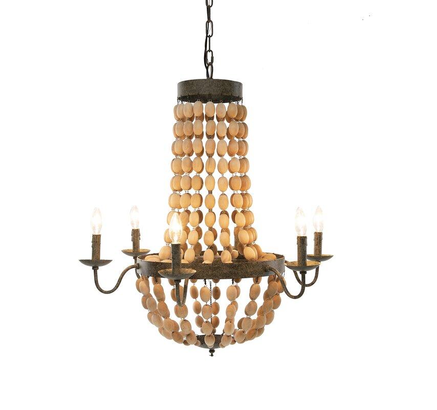 Bungalow Rose Bargas 6 - Light Unique / Statement Empire Chandelier with Wood Accents