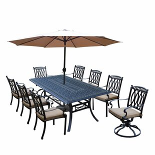 Darby Home Co Otsego 9 Piece Rust Resistant Aluminum Dining Set with Cushions