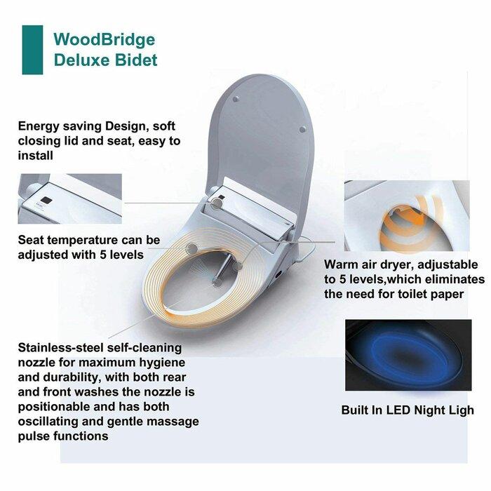 Peachy Dual Flush Elongated One Piece Toilet With Bidet Seat Seat Included Customarchery Wood Chair Design Ideas Customarcherynet