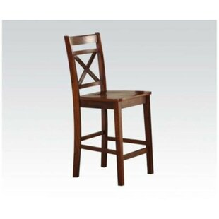 Raquel Counter Height Solid Wood Dining Chair (Set of 2) Millwood Pines
