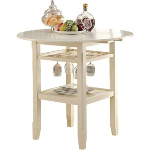 Marcia Round Wooden Counter Height Pub Table Highland Dunes