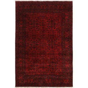 Find a One-of-a-Kind Cremeans Hand-Knotted 4'10 x 6'3 Wool Red/Black Area Rug By Isabelline