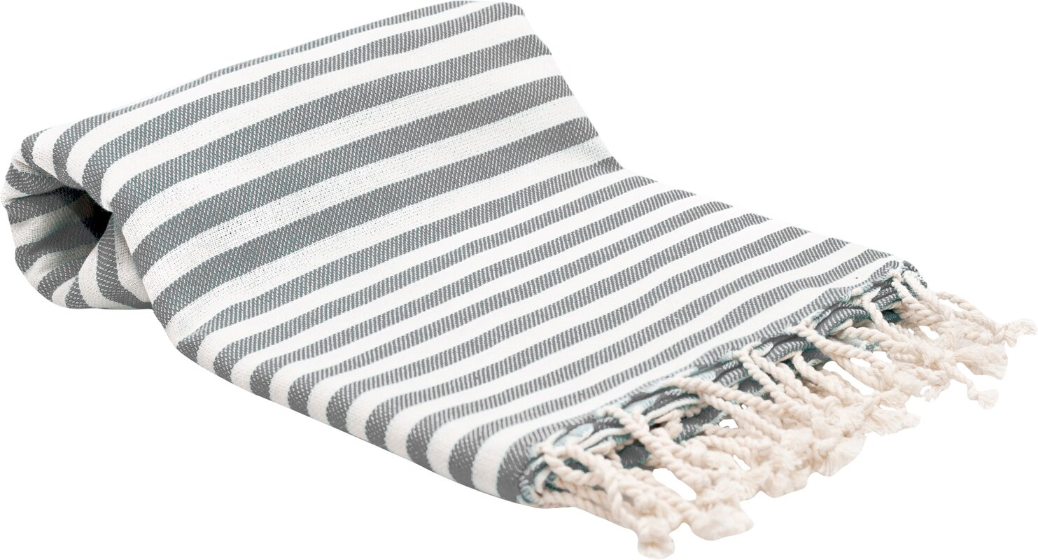 Stripe Fouta Bath Towel - Shop Drew's Honeymoon House {Jonathan's Guest Suite} #turkishtowel #greyandwhitestripes #stripetowel