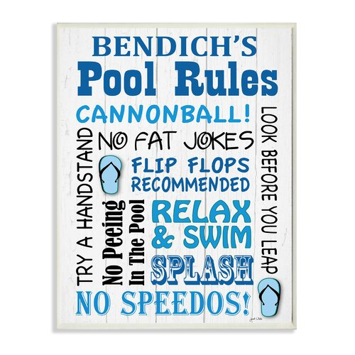 Stupell Industries Personalized Pool Rules With Sandals Skinny Textual Art Plaque Wayfair