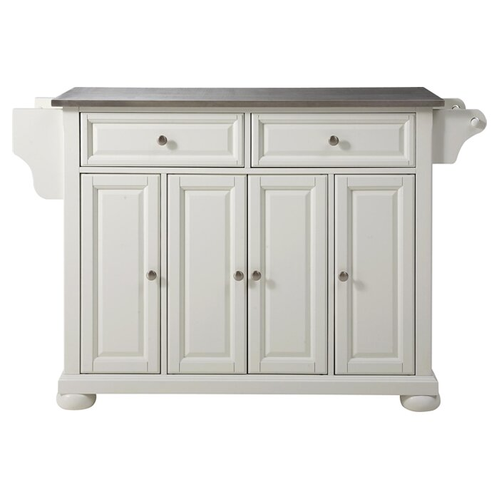 Charmant Pottstown Kitchen Island With Stainless Steel Top