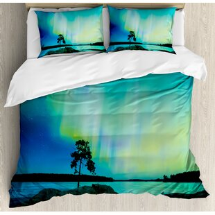 East Urban Home Northern Lights Single Tree Over Rocky Stone By River Borealis Earth Beauty Image Duvet Set