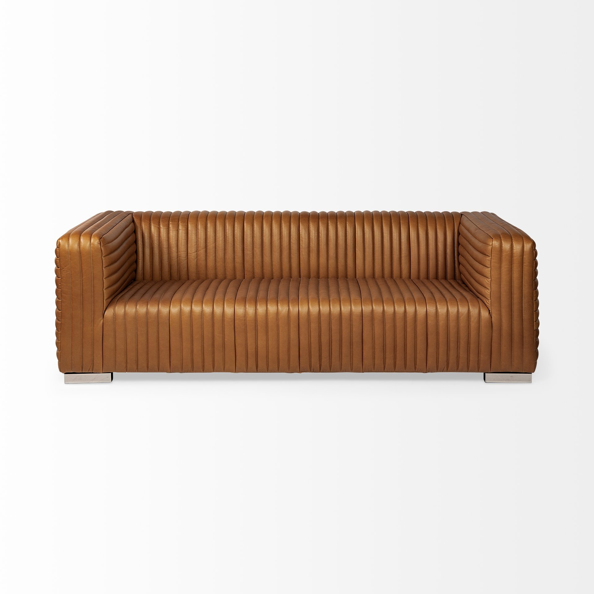 17 Stories Hardee Genuine Leather 86 Tuxedo Arm Sofa Wayfair