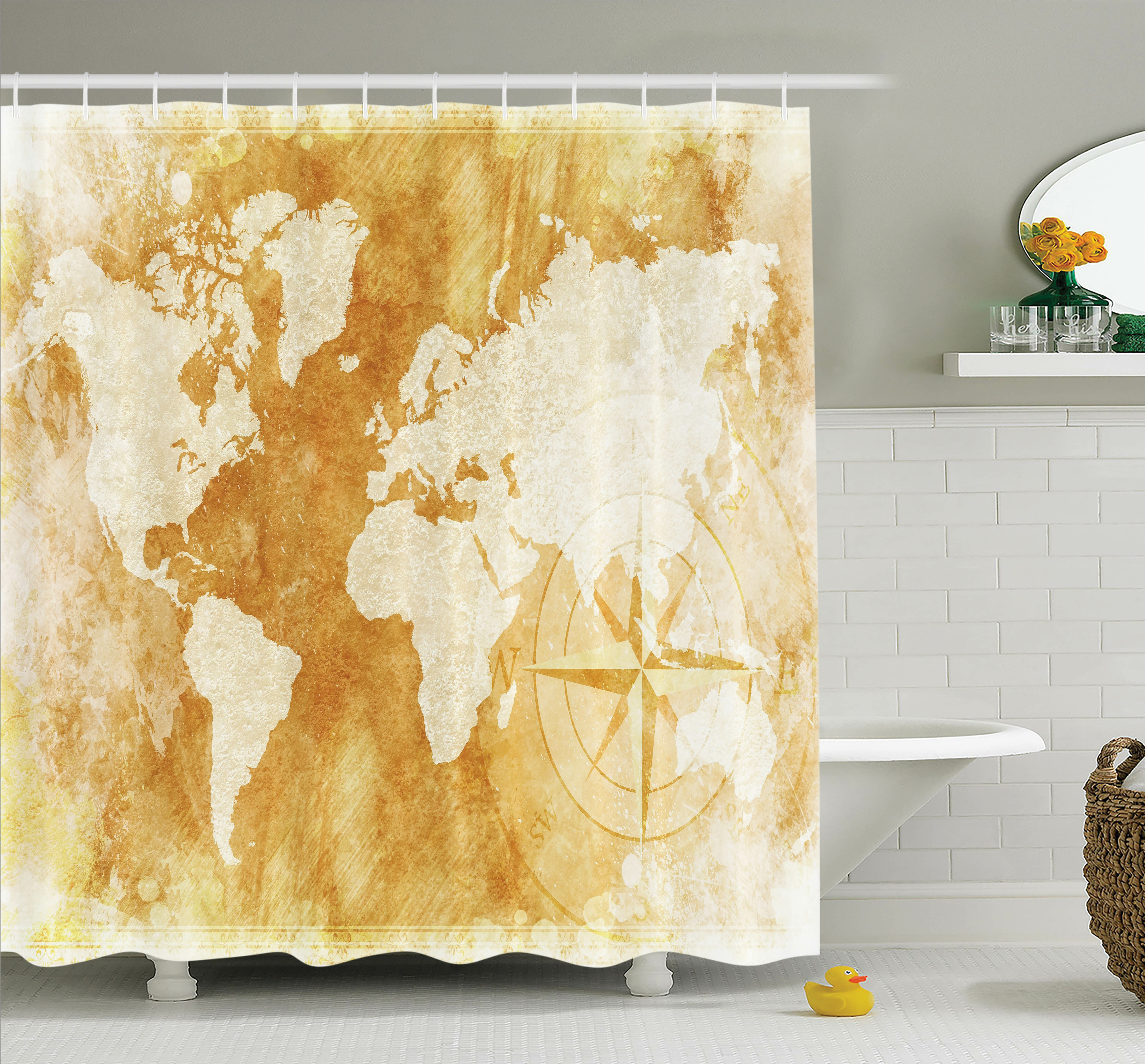 Ambesonne Old Fashioned World Map Shower Curtain Set