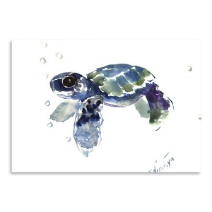 'Babe Sea Turtle' by Suren Nersisyan Watercolor Painting Print