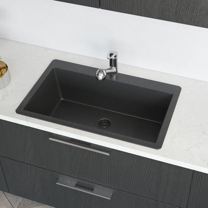 Granite Composite 33 L X 21 W Drop In Kitchen Sink With