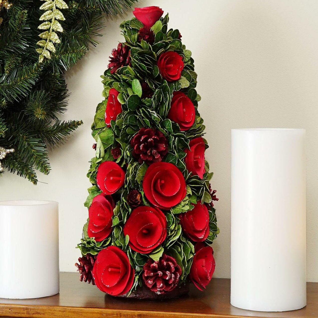 Northlight Desktop Rose Flower And Pine Cones Christmas Tree Decorative Plant Wayfair
