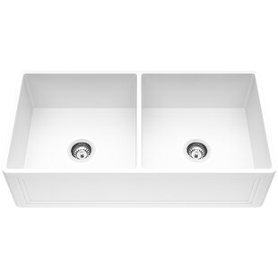 Matte Stone 36 L x 18 W Double Basin Farmhouse Kitchen Sink with Basket Strainer