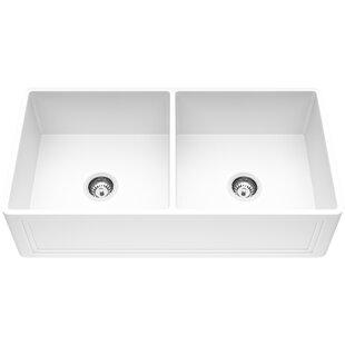 Matte Stone 36 L x 18 W Double Basin Farmhouse Kitchen Sink with Basket Strainer