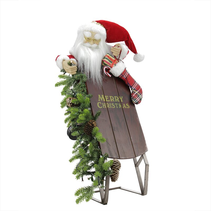 Northlight Battery Operated Lighted Musical Santa Claus with Sleigh Christmas Decoration | Wayfair