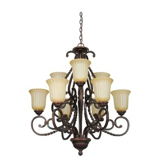 Radionic Hi Tech Daniella 9-Light Shaded Chandelier