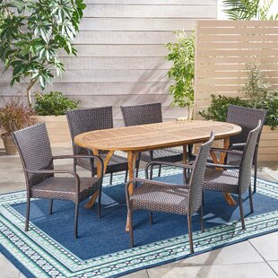 Bungalow Rose Whitehead Outdoor 7 Piece Dining Set