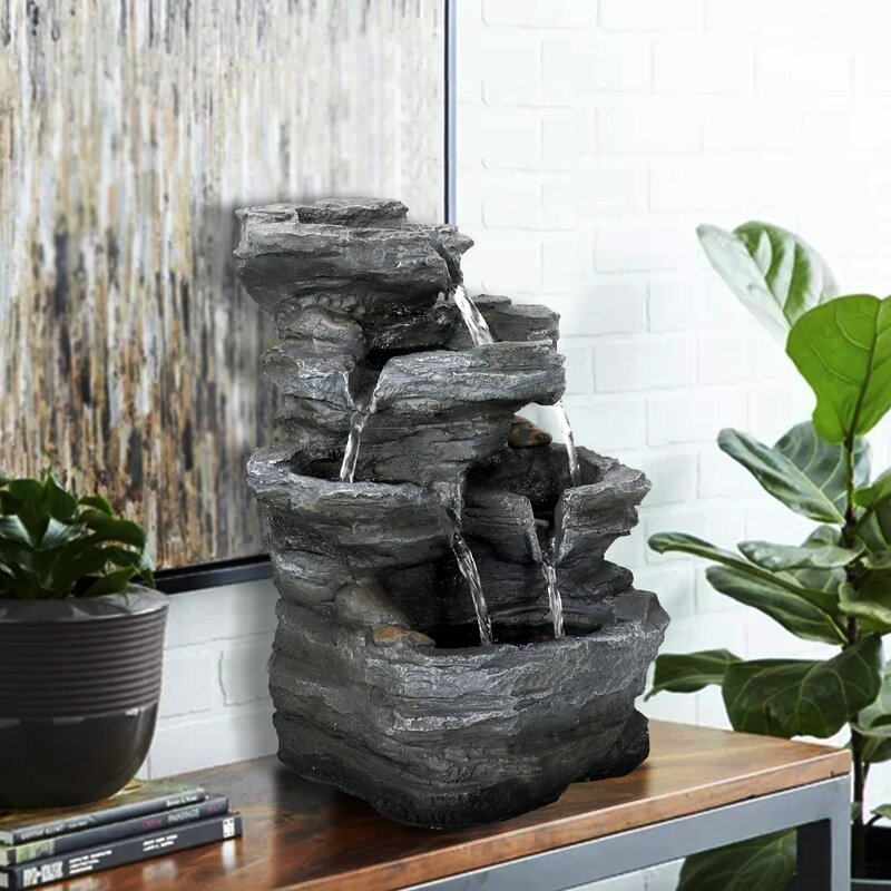 Skyfireea Chillscreamni Resin Stacked Rock Water Fountain With Light Wayfair