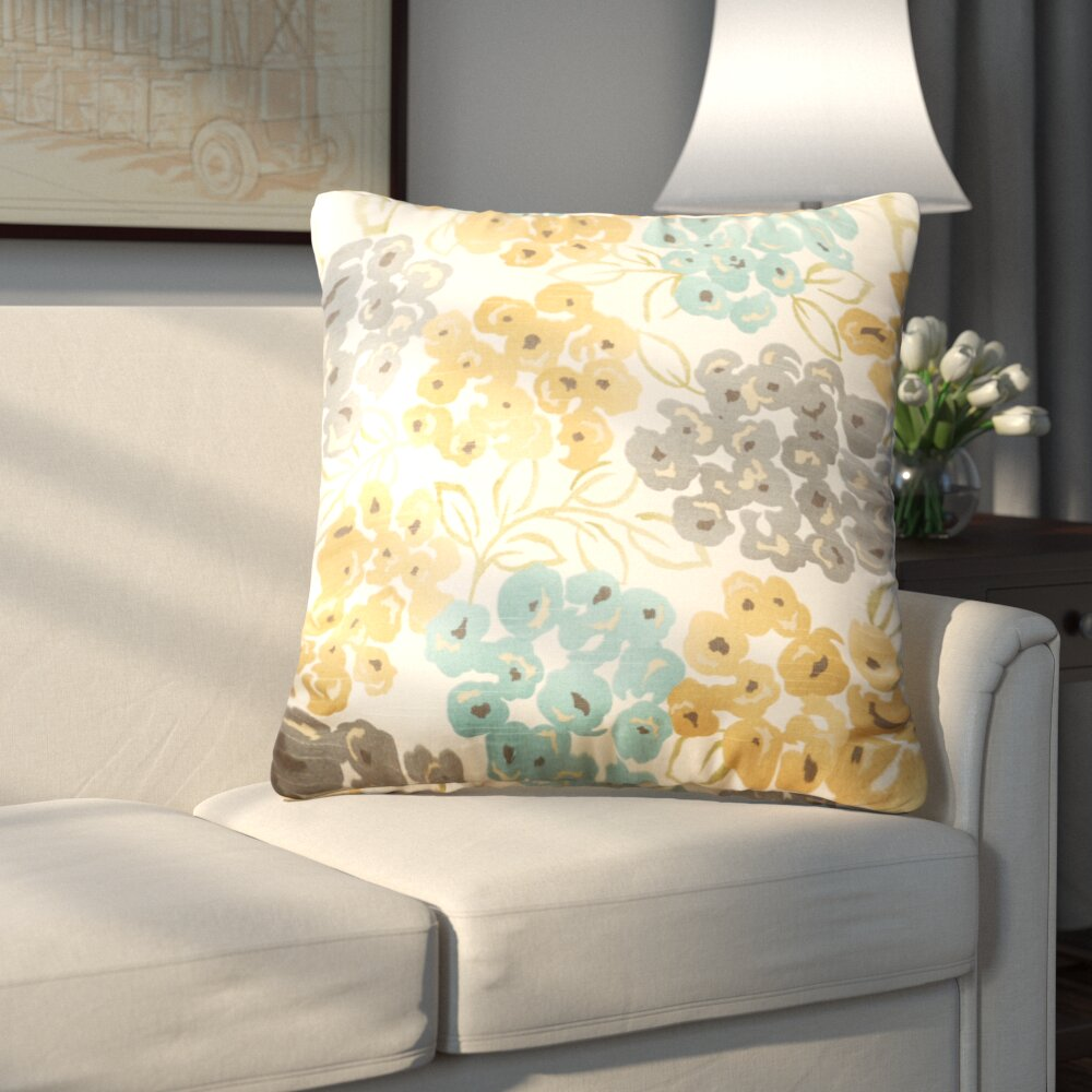Andover Mills Pinto Square Cotton Floral Throw Pillow Reviews Wayfair Ca