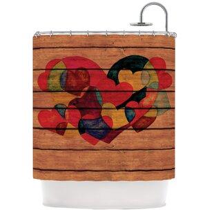 Wooden Heart Single Shower Curtain