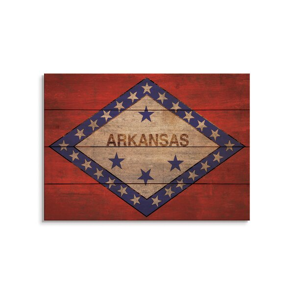 Trinx One Of A Kind Original Arkansas State Flag Unframed Print On Wood Wayfair