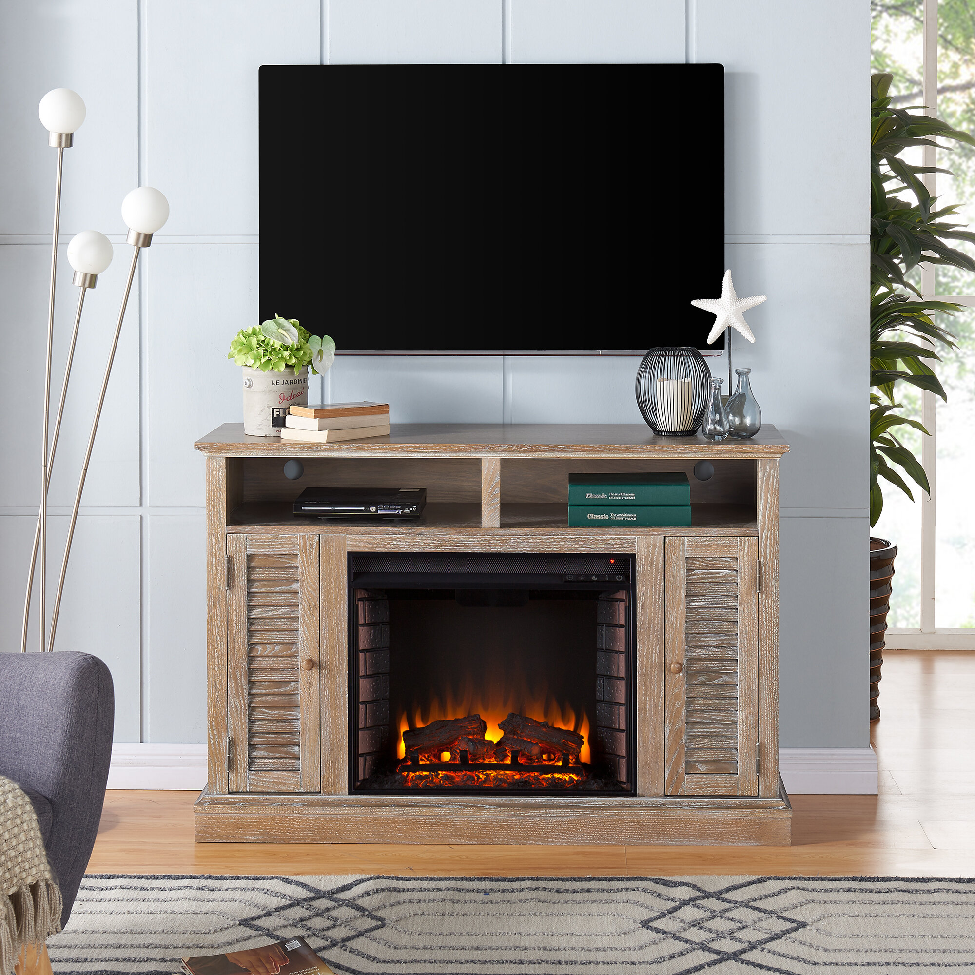 Alcott Hill Contreras Tv Stand For Tvs Up To 48 With Fireplace Wayfair Ca