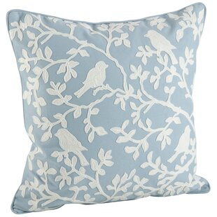 Eden Bird Branch Embroidered 100% Cotton Throw Pillow