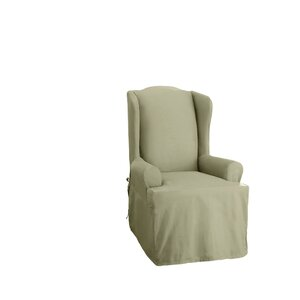 Cotton Duck T-Cushion Wingback Slipcover
