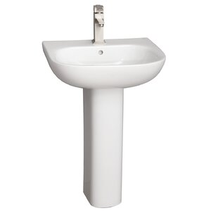 Tonique Lavatory Vitreous China Pedestal Bathroom Sink with Overflow Barclay