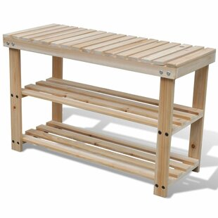 Durable Bench Top 2-in-1 Wooden 9 Pair Shoe Rack By Beachcrest Home