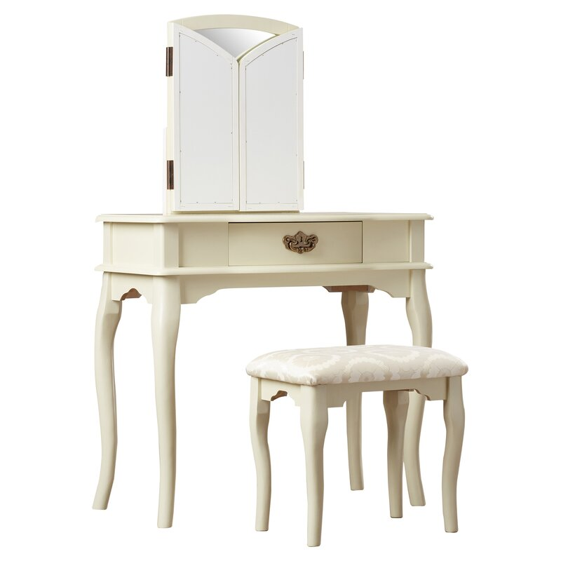 tri fold mirror vanity set. Livingston 3 Piece Vanity Set with Trifold Mirror Charlton Home