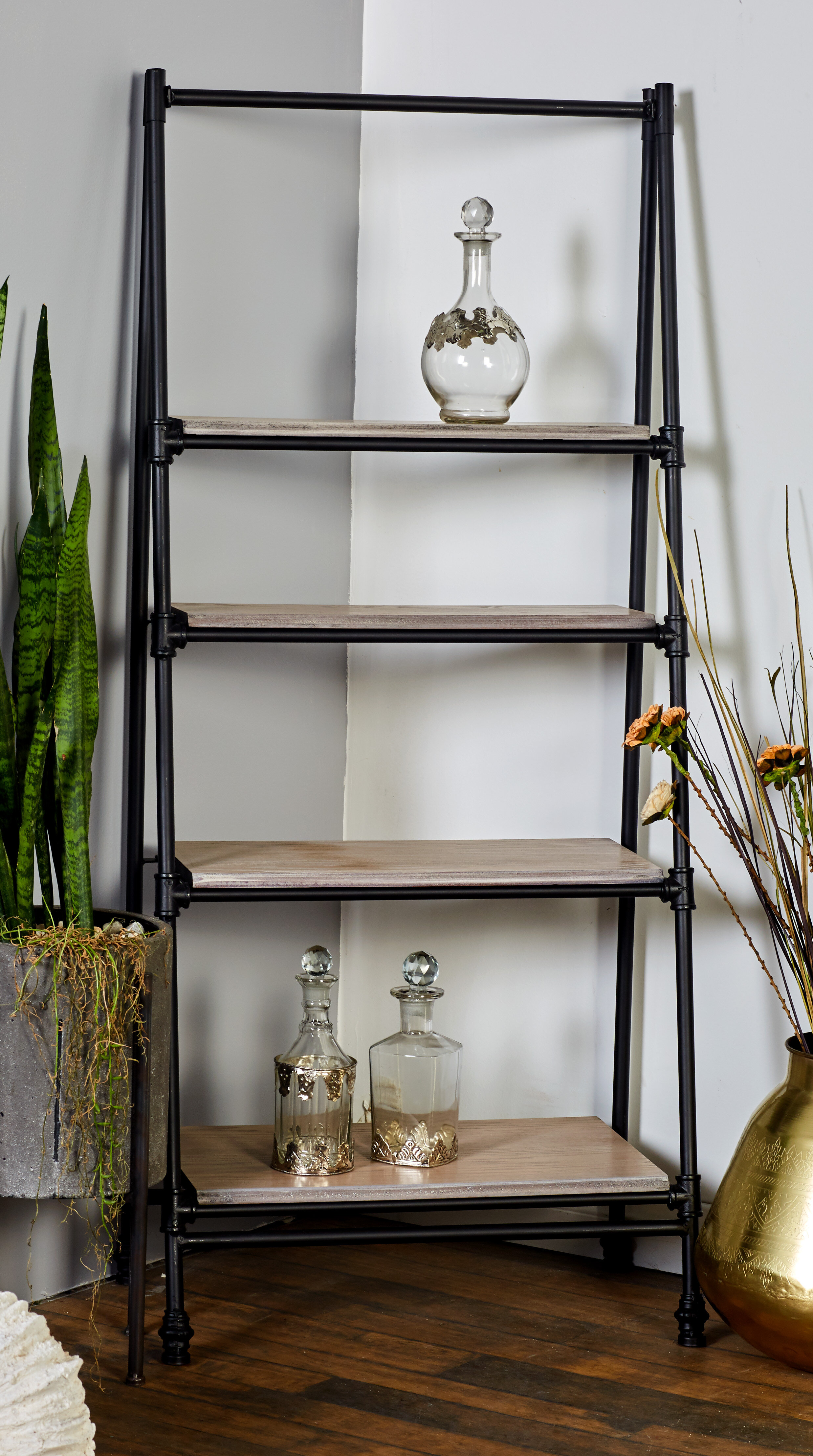 ladder leaning vintage shelf it buy build or wooden yellow