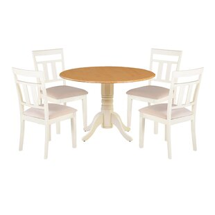 Agata 5 Piece Drop Leaf Solid Wood Dining Set by August Grove