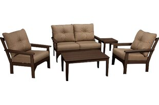 Vineyard 5 Piece Sunbrella Sofa Set with Cushions by POLYWOOD?