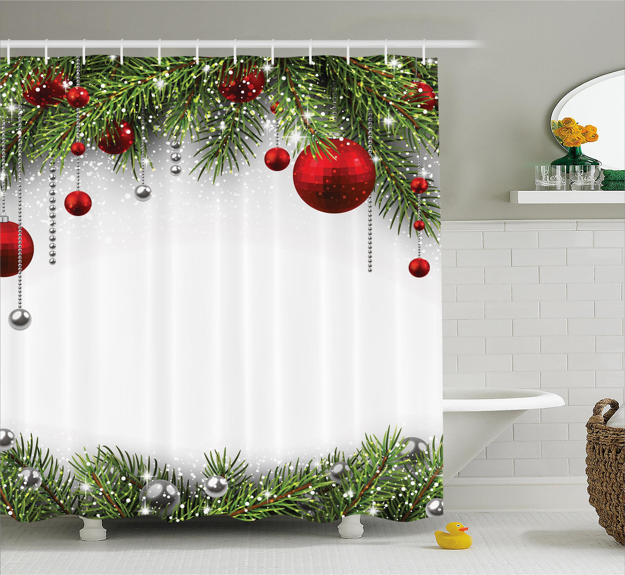 Christmas Bright Baulbes Tree Shower Curtain Hooks