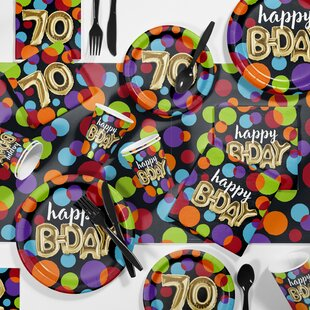 Balloon 70th Birthday Party Paper/Plastic Supplies Kit (Set of 81)