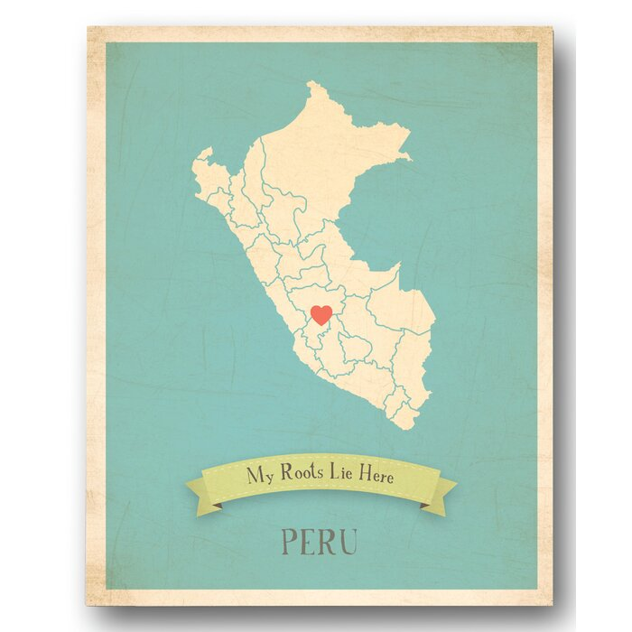 My Roots Peru Personalized Map Graphic Canvas Art
