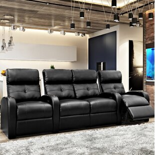Tufted Blue LED Home Theater Row Seating (Row of 4) By Latitude Run