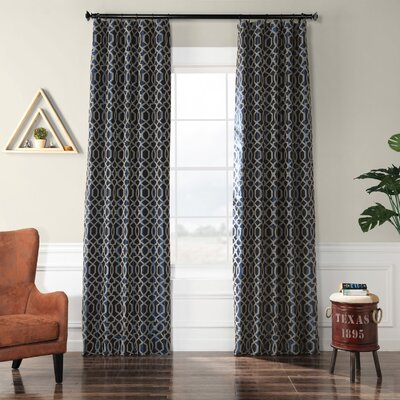 Half Price Drapes Filigree Flocked Faux Silk Geometric Rod Pocket Single Curtain Panel