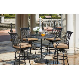 Astoria Grand Melchior 5 Piece Bar Height Dining Set with Cushions